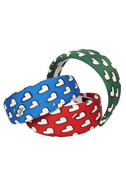 cerchietti piatti di raso con cuori colori rosso blu e verde