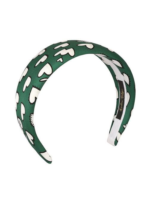 cerchietto piatto in raso verde con cuori